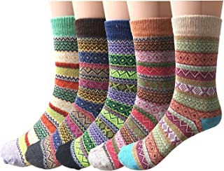 Pack of 5 Womens Wool Socks Cold Weather Vintage Soft Warm Socks Thick Knit Cozy Winter Socks for Women
