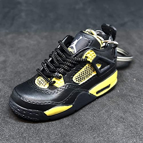 79acb8160ec1a9 Air Jordan IV 4 Retro Thunder Black Yellow OG Sneakers Shoes 3D Keychain  Figure 1