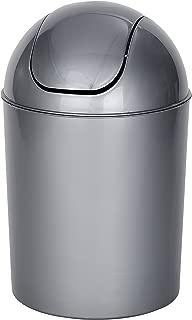Wenko Cubo con Tapa Oscilante 6 L, Polipropileno, Gris,