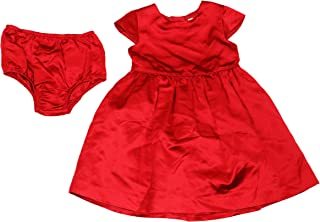 Ralph Lauren Baby Girls Solid Color Satin Silk Dress with Diaper Cover