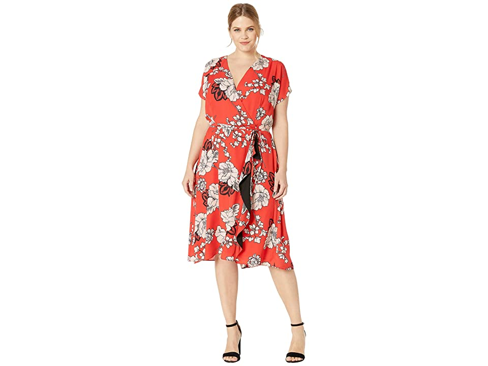 Adrianna Papell Plus Size Faux Wrap Paisley Floral Dress with Drape (Red Multi) Women