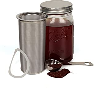 Cold Brew Coffee Maker Filter for 1Quart/32ounce Wide Mouth Mason Jar-Iced Coffee&Tea&Fruit Maker-Food grade 304 Stainless Steel coffee Filter-Free silicone seal gasket&Coffee Scoop.(Jar NOT Included)