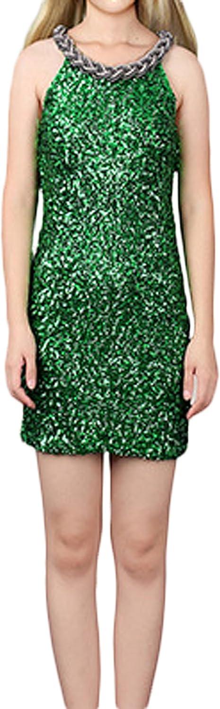 VSVO Women's Sleeveless Chain Neck Sequins Dress