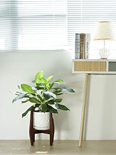Mid Century Plant Stand - Wood Indoor Plant Flower Pot Holder for Modern Home Décor – Victor - Brown - Fits up to 9.6'' Planter (Planter NOT Included)