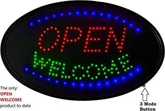 LED Neon Open Welcome sign : 3 Modes Open Welcome sign, 23X14 Inches, Business Open Sign, Advertisement Display Flashing, Scrolling & Steady bright modes for Windows, Restaurants, Bars & Hotels & all