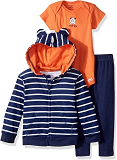 GERBER Baby Boys' 3-Piece Hooded Jacket, Bodysuit and Pant Set