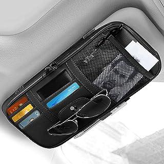 STHIRA® Leather Car Sun Visor Organizer Auto Interior Accessories Pocket Organizer Truck Storage Pouch Holder with Multi-P...