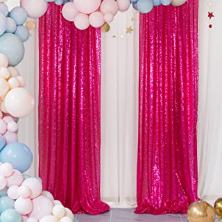 Sequin Curtains 2 Panels Fuchsia 2FTx8FT Sequin Photo Backdrop Hot Pink Sequin Backdrop Curtain Pack of 2 -1011E