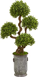 """Nearly Natural 50"""" Triple Ball Boxwood Artificial Topiary Metal Planter Silk Trees Green"""