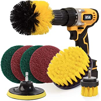 Holikme 8 Piece Drill Brush Attachment Set Scouring Pads Power Scrubber Brush Scrub Pads Cleaning Kit-All Purpose Cleaner for Bathroom Surfaces, Grout, Floor, Tub, Shower, Tile, Corners