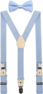 YJDS Men's Boy's Leather Suspenders and Bowtie Set Strong Clips