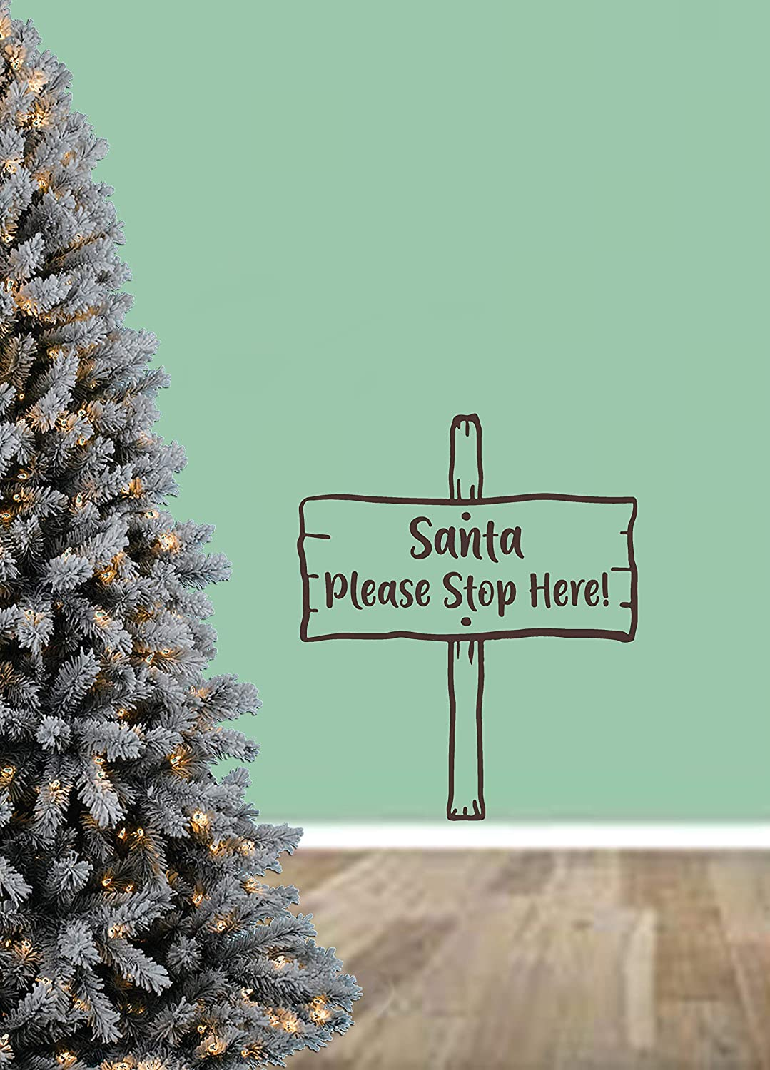 Limited price sale Santa Please Stop Here Christmas Quote Vinyl Wall Sticker M Free shipping / New Art