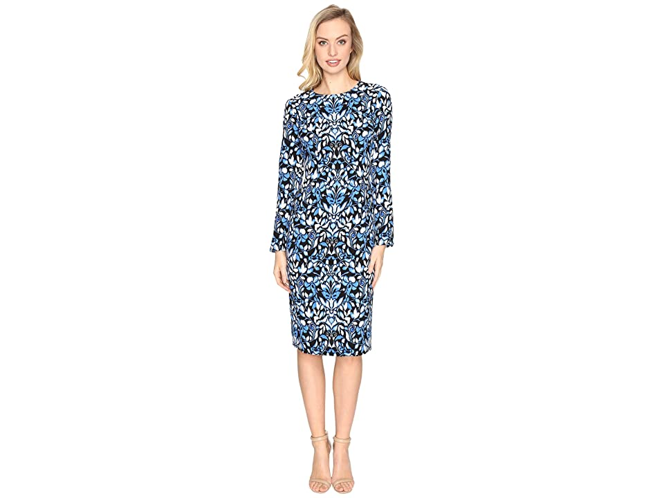 6446d1c8 Maggy London Blossom Flower Printed Crepe Sheath Dress (Black/Azure) Women