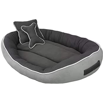 PetsHub's Elite Dog/CAT Bed Ultra Soft Grey & Black Reversible with 2 Extra Pillows (Export Quality)-XL