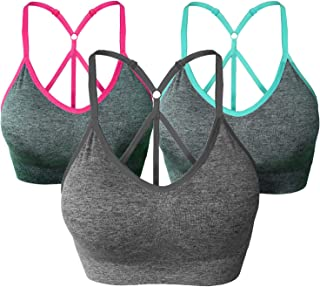 ba2deec3b4 AKAMC Women s Removable Padded Sports Bras Medium Support Workout Yoga Bra  3 Pack