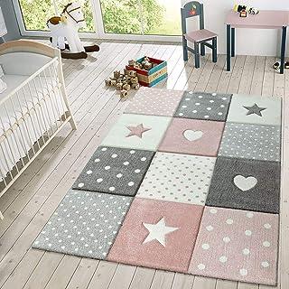 comprar comparacion TT Home Alfombra Infantil De Juego Cuadros Puntos Estrella Luna Pastel Rosa Blanco Gris, Größe:80x150 cm