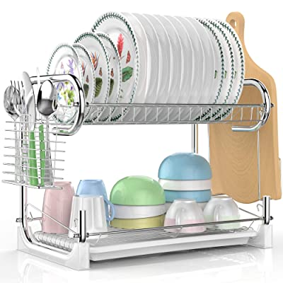 Dish Drying Rack, Veckle 2 Tier Dish Drainer Ea...