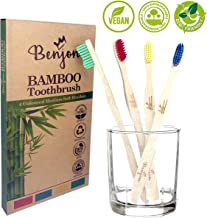 Paquete de 4 cepillos de dientes de bambú, tamaño mediano, suaves, cerdas de colores para artesanos, veganos, ecológicos, sin BPA, biodegradables, paquete familiar de 4 higiene dental