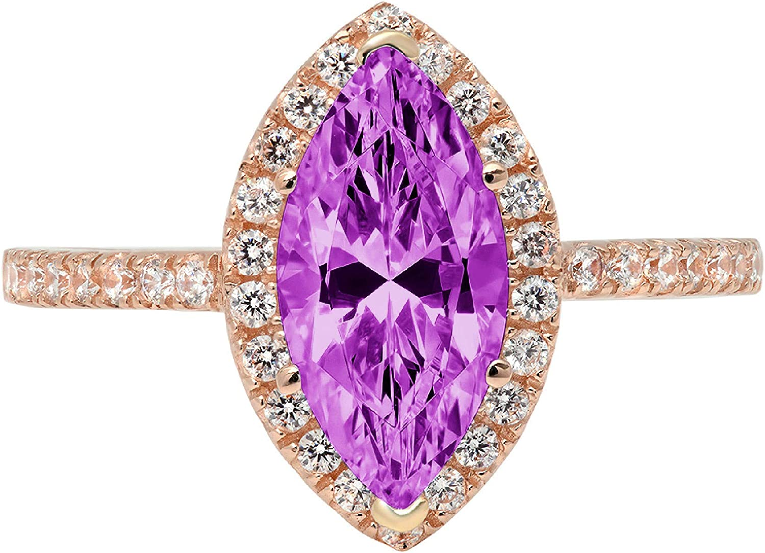 2.33 Brilliant Marquise Cut Solitaire with Accent Halo Flawless Ideal VVS1 Simulated Alexandrite Ideal Engagement Promise Anniversary Bridal Wedding Designer Ring 14k Rose Gold
