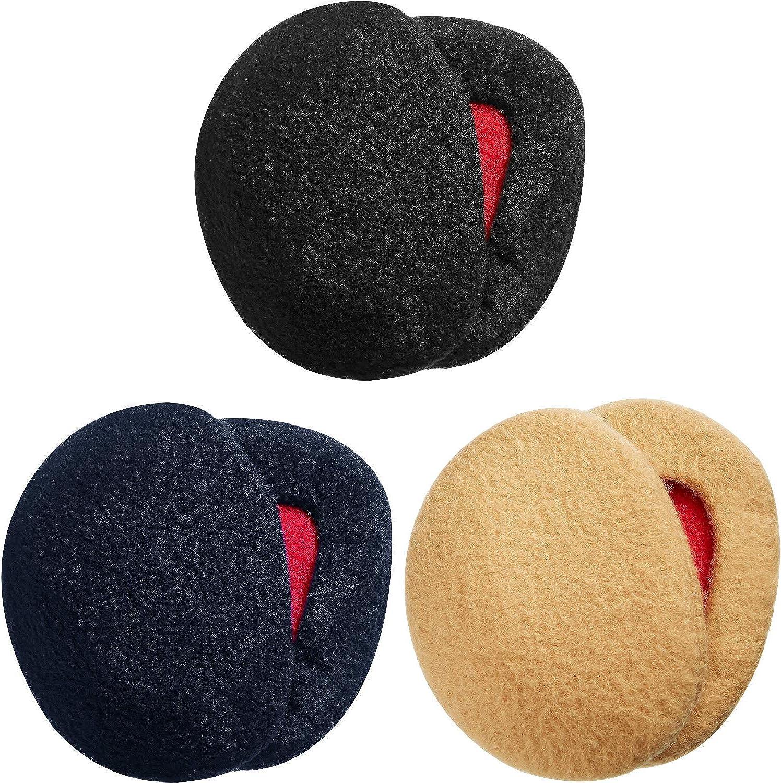 3 set Bandless Ear Muffs for Men and Women Winter Ear Warmers black Dark Blue khaki
