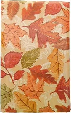 """Bountiful Harvest Shades of Orange Fall Leaves Vinyl Tablecloth with Flannel Backing. Colorful Autumn Vinyl Tablecloth. (52"""""""
