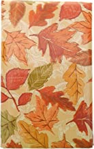 Bountiful Harvest Shades of Orange Fall Leaves Vinyl Tablecloth with Flannel Backing. Colorful Autumn Vinyl Tablecloth. (52