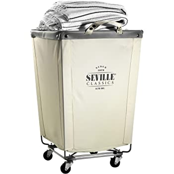"""Seville Classics Commercial Heavy-Duty Canvas Laundry Hamper with Wheels, 18.1"""" D x 18.1"""" W x 27"""" H, Natural White"""
