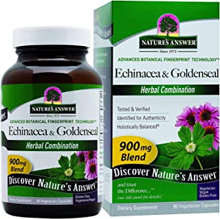 Nature's Answer Echinacea & Goldenseal | Dietary Supplement | Supports a Healthy Immune System | Non-GMO & Kosher Certified | Vegetarian/Vegan Capsules 90ct