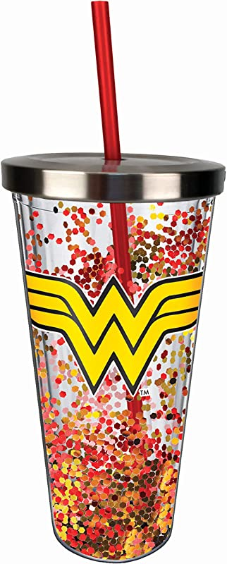 Spoontiques 21337 Wonder Woman Logo Glitter Cup W Straw One Size Red Gold