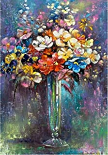 Shmjql Fleur Abstraite dans Un Vase Toile Peinture Impression sur Toile Mur Art Photo Affiche Salon Décor À La Maison-50X7...