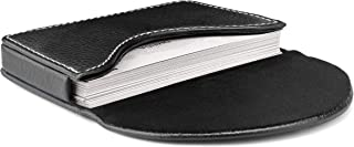 MaxGear Leather Business Card Holder Case with Magnetic Shut Black, Holds 25 Business Cards, Men or Women Name Card Holder Case