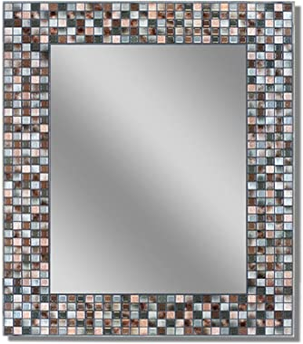 Headwest Earthtone Copper-Bronze Mosaic Tile Wall Mirror, 24 inches by 30 inches, 24in x 30in (Renewed)