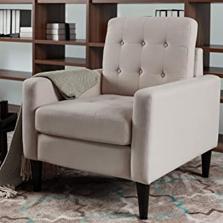 LOKATSE HOME Mid-Century Modern Recliner Accent Fabric Arm Chair Comfy Upholstered Single Sofa for Living Room Furniture, Beige(Style1)
