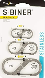 Nite Ize S-Biner SlideLock Dual Carabiners, Stainless-Steel, Assorted 3-Pack, Sizes 2, 3, 4