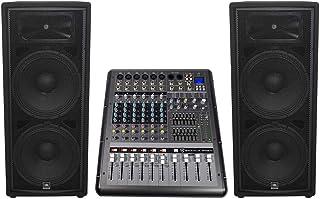 """JBL JRX225 Dual 15"""" 4000w DJ/PA Speakers+Powered 8-Channel Mixer w/USB/Effects"""