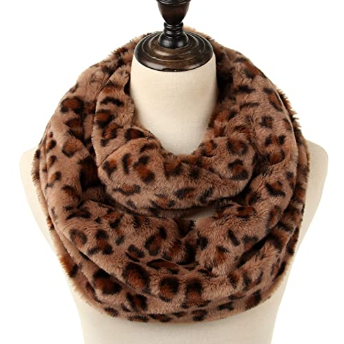 056769efdd9 Women s leapord print infinity scarf Warm lightweight Acrylic Cheetah Loop  Circle Scarves for Ladies and Girls
