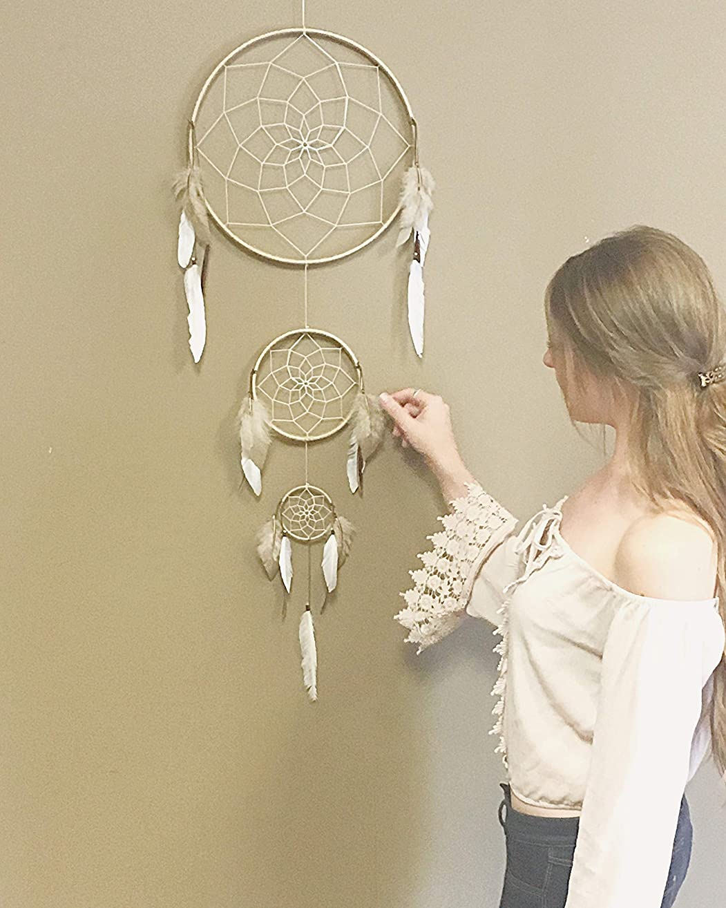 Dream Catcher, Bohemian Dreamcatcher, Feather Wall Decor, Feather Art, Bohemian, Hippie, Earthy, Multi Hoop