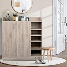 21 Pairs Wooden Shoe Cabinet Rack Storage Drawers Organiser Shelf Door Cupboard