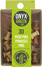 Onyx & Green Pushpins, made from Bamboo - 30 pack (3902)