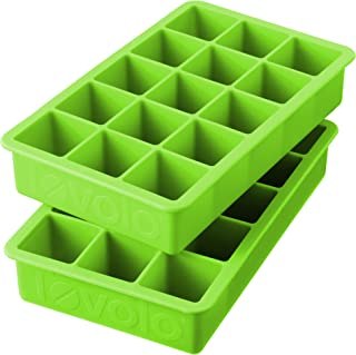 Tovolo Tray of 1.25-Inch Cubes for Whiskey, Bourbon, Spirits & Liquor, BPA-Free Silicone, Fade Resistant Set of 2 Green 8...
