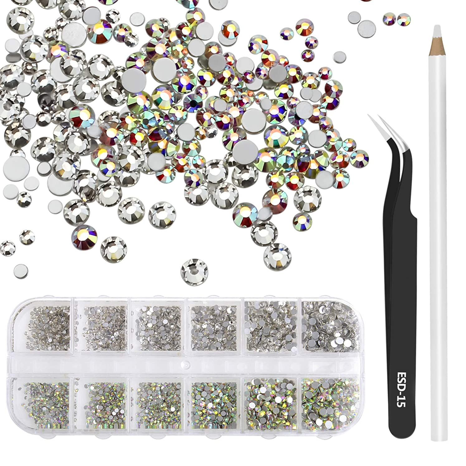 Dreamtop 3456 Pieces Crystal AB and Clear Nail Art Rhinestones Flatback Glass Charms Gems Stones in Storage Box with Tweezer and Rhinestones Picking Pen for Nail DIY Crafts, SS3 4 5 6 8 10
