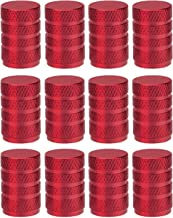 Sunmns 12 Pack Aluminium Tire Stem Valve Caps Air Cover for Car Motorcycle Bike (Red)