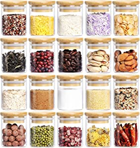 Glass Spice Jars Set, AIKWI Airtight Food Containers with Bamboo Lids Silicon Ring for Storage, Kitchen Canister Set Ideal for Flour Sugar Tea Coffee Beans Spice Jars - Pen & Labels(20, 2.5oz)