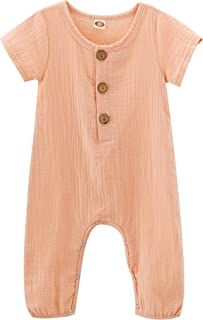 c50c8231e Newborn Baby Girl Jumpsuit Cotton Linen Solid Romper Short Sleeve One-Piece  Bodysuit Infant Summer