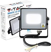 V-TAC 10W Waterproof Outdoor Security Floodlight with Samsung LED Black Body Grey Glass IP65 6400K White 800 lumens, Die C...