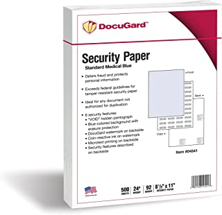 DocuGard Standard Medical Security Paper for Printing Prescriptions and Preventing Fraud, CMS Approved, 6 Security Features, Laser and Inkjet Safe, Blue, 8.5 x 11, 24 lb., 500 Sheets (04541)