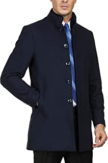 PAUL JONES Men's Stylish Slim Fit Lapel Collar Double Breasted Wool Blends Coat