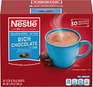 Nestle Hot Chocolate Mix, Sugar Free and Fat Free Hot Cocoa, Rich Chocolate Flavor, 0.28 oz Packets (Pack of 30)