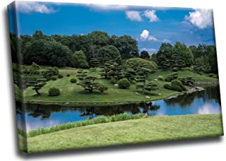 Japanese Garden Island Landscape Gallery Stretched on Wood Bars HD Canvas Wall Art