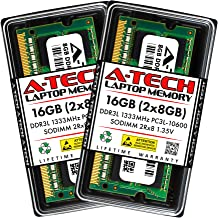 A-Tech 16GB (2x8GB) DDR3/DDR3L 1333MHz SODIMM PC3L-10600 2Rx8 Dual Rank 204-Pin CL9 1.35V Non-ECC Unbuffered Notebook Lapt...